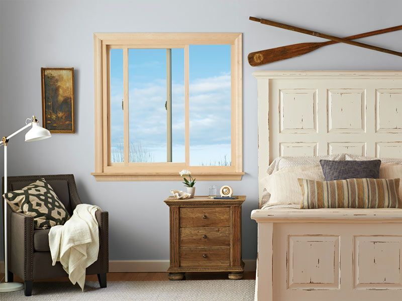 gliding windows in a bedroom