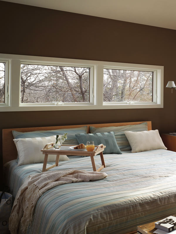 awning windows in a bedroom