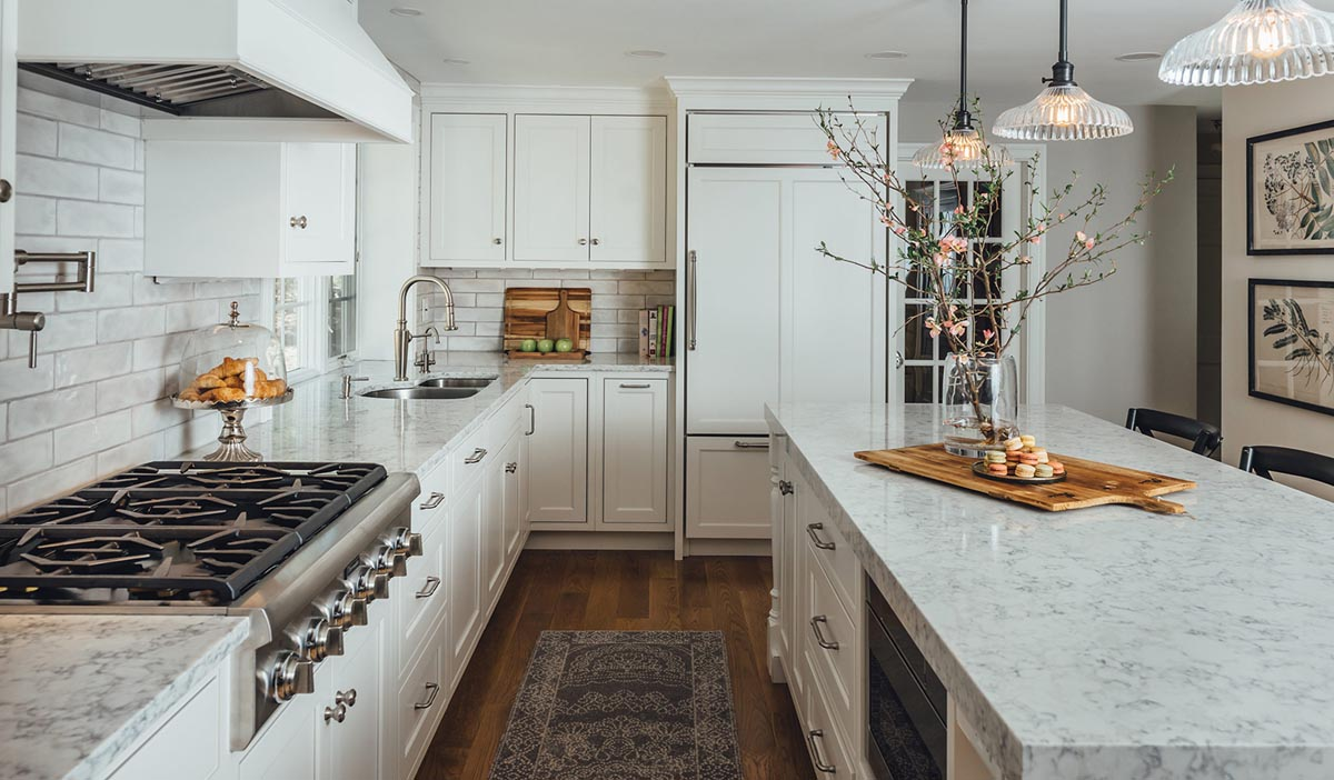 white mouser cabinets in a recently remodeled kitchen