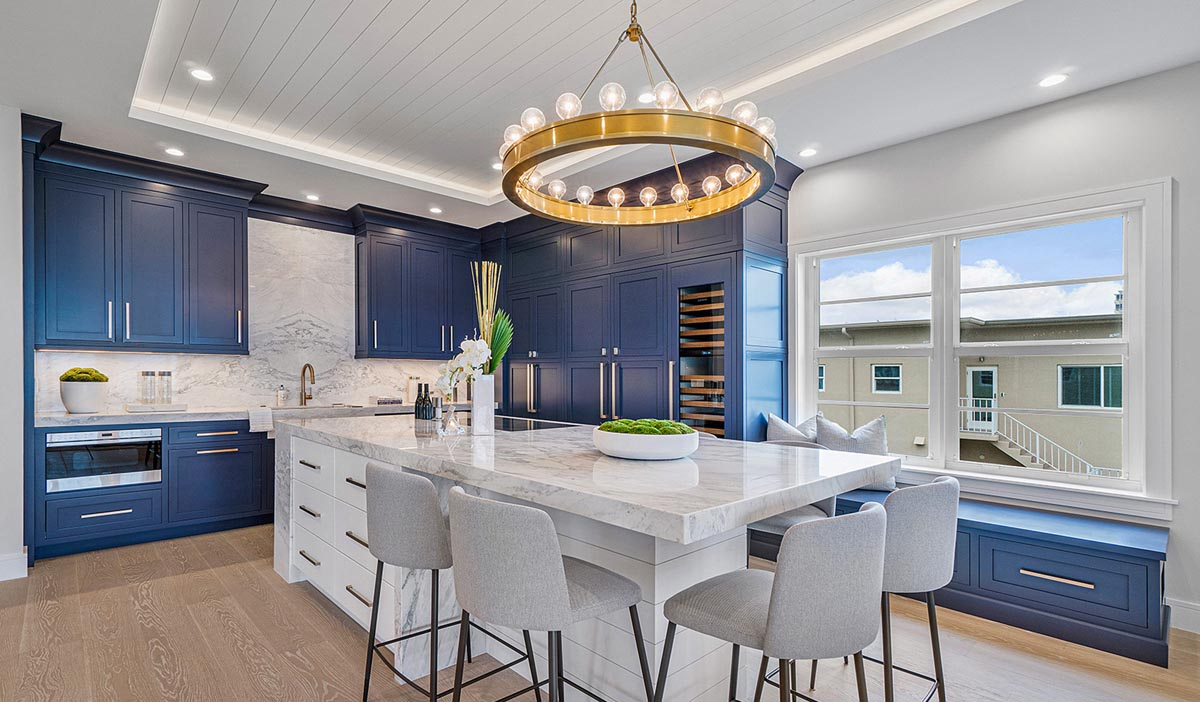 blue mouser cabinets in a kitchen