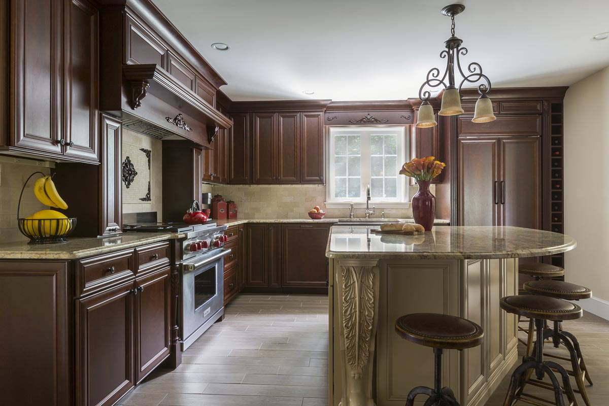 brown mouser cabinets in a kitchen